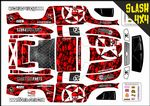Red Gothic Skullz themed vinyl SKIN Kit To Fit Traxxas Slash 4x4 Short Course Truck
